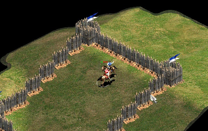 A scout taking a fight uphill in age of empire 2