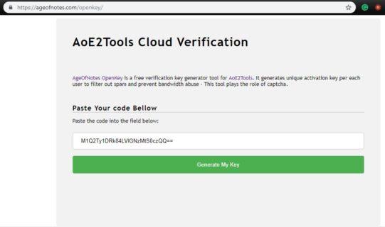 AoE2ToolsCloud Generate your Key