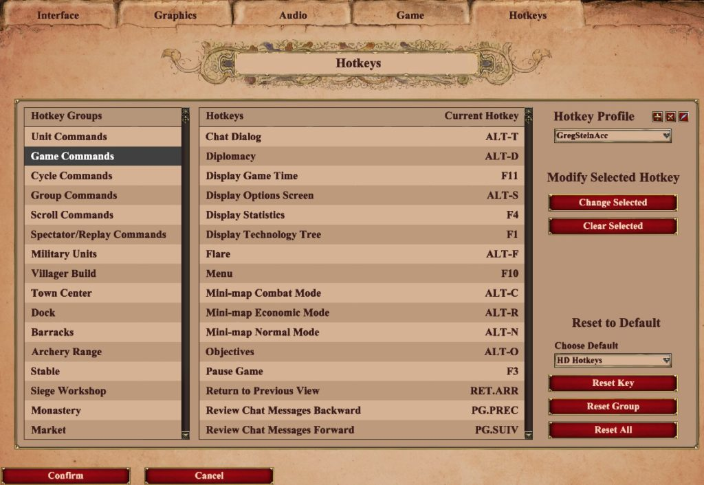 hotkeys for age of empires 2 DE