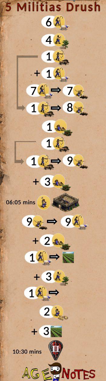 5 Militias Drush Full build order